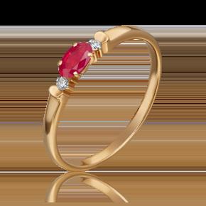 Кольцо из красного золота с рубином и бриллиантом 01-0777-00-107-1110-30