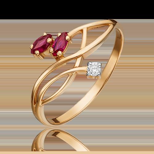 Кольцо из красного золота с рубином и бриллиантом 01-0781-00-107-1110-30