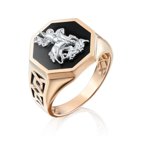 Печатка из комбинированного золота с эмалью 01-4826-00-000-1111-25