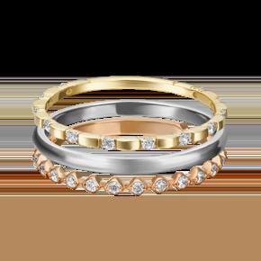 Наборное кольцо из комбинированного золота с фианитом 13-0003-00-401-1140-48