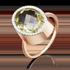 Кольцо из красного золота с кварцем зеленым и фианитом 01-4821-00-260-1110-46