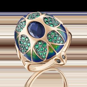 Кольцо из красного золота с корундом синт., фианитом и эмалью 01-4840-00-294-1110-46