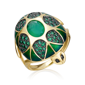 Кольцо из лимонного золота с халцедоном, фианитом и эмалью 01-4840-00-275-1130-47