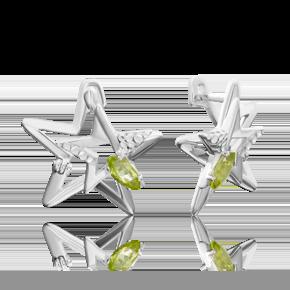 Серьги из серебра с хризолитом 02-4723-00-205-0200-69