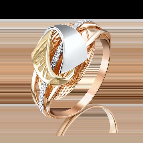 Кольцо из комбинированного золота фианитом 01-5083-00-401-1140-48