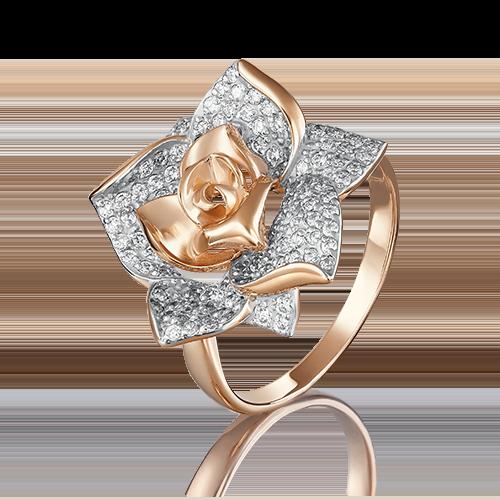 Кольцо из красного золота с фианитом 01-3965-00-401-1110-33