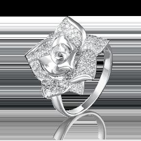 Кольцо из белого золота с фианитом 01-3966-00-401-1120-33