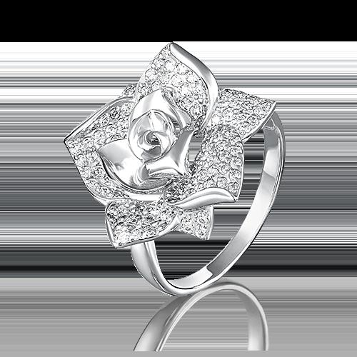 Кольцо из белого золота фианитом 01-3966-00-401-1120-33