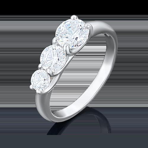 Кольцо из белого золота фианитом огр.SW 01-3972-00-501-1120-38