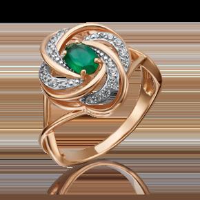 Кольцо из красного золота с халцедоном и фианитом 01-4633-00-275-1110-47