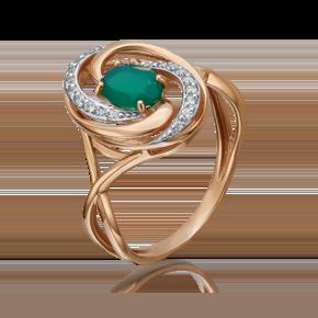 Кольцо из красного золота с халцедоном и фианитом 01-4640-00-275-1110-47