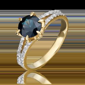 Кольцо из лимонного золота с сапфиром и бриллиантом 01-1401-00-105-1130-30
