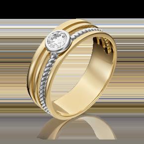 Кольцо из лимонного золота с фианитом огр.SW 01-5347-00-501-1121-38