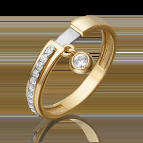 Кольцо из лимонного золота с фианитом 01-5285-00-401-1121-48