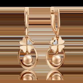 Серьги с английским замком из комбинированного золота с бриллиантом 02-4816-00-101-1111