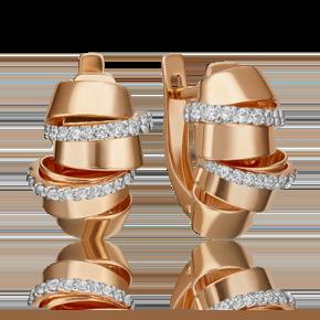 Серьги с английским замком из красного золота с фианитом 02-4586-00-401-1110-48
