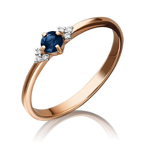 Кольцо из красного золота с сапфиром и бриллиантом 01-1486-00-105-1110-30