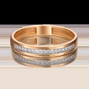 Обручальное кольцо из красного золота с бриллиантом 01-1484-00-101-1110-30