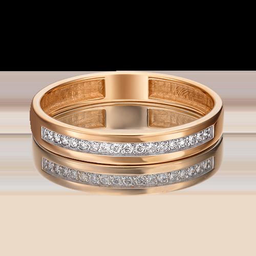 Обручальное кольцо из красного золота бриллиантом 01-1484-00-101-1110-30