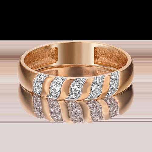 Обручальное кольцо из красного золота с бриллиантом 01-1488-00-101-1110-30