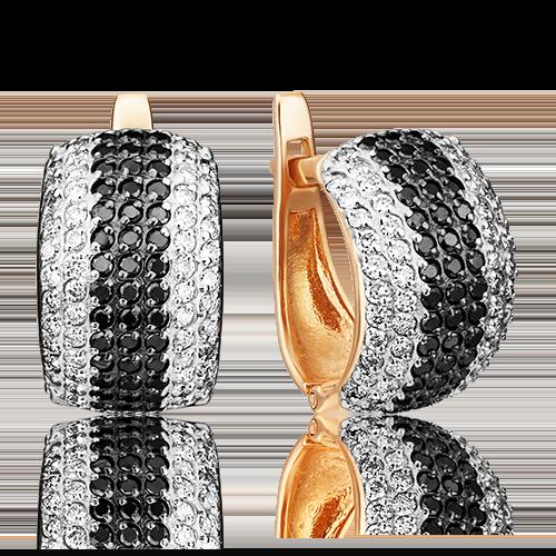 Серьги с английским замком из красного золота бриллиантом 02-0850-00-108-1110-30