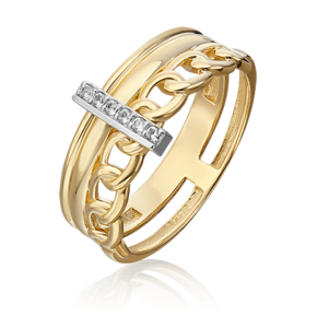 Кольцо из лимонного золота с топазом white 01-5502-00-201-1121