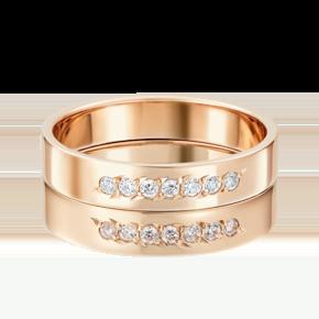 Обручальное кольцо из красного золота с фианитом 01-3491-00-401-1110-18