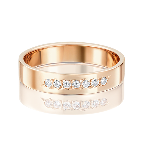 Обручальное кольцо из красного золота фианитом 01-3491-00-401-1110-18