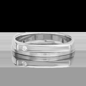 Обручальное кольцо из белого золота с бриллиантом 01-5200-00-101-1120-30