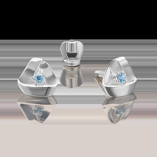 Серьги-пусеты из серебра с топазом 02-4662-00-201-0200-68