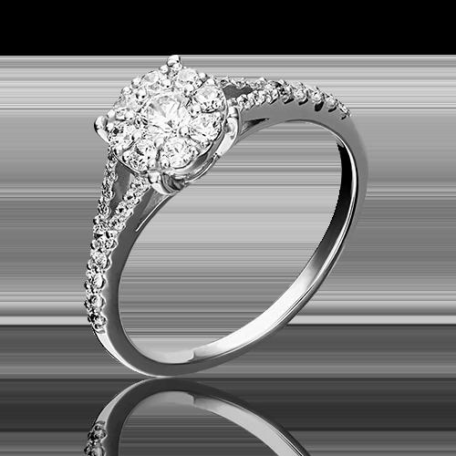 Кольцо из белого золота фианитом огр.SW 01-4730-00-501-1120-38
