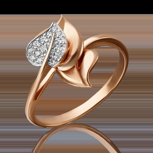 Кольцо из красного золота фианитом 01-4732-00-401-1110-03