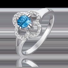 Кольцо из белого золота с аквамарином и бриллиантом 01-0187-00-123-1120-30