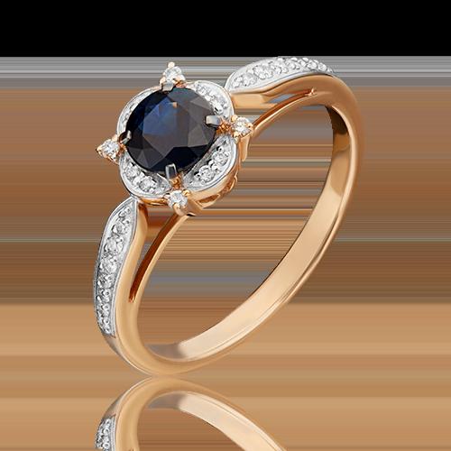 Кольцо из красного золота с сапфиром и бриллиантом 01-1548-00-105-1110-30
