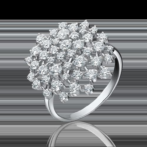 Кольцо из белого золота фианитом огр.SW 01-3666-00-501-1120-38