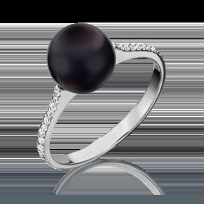 Кольцо из белого золота с жемчугом культивированным и фианитом 01-5336-01-302-1120-31