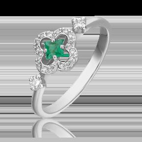 Кольцо из белого золота с изумрудом и бриллиантом 01-1572-01-106-1120-30