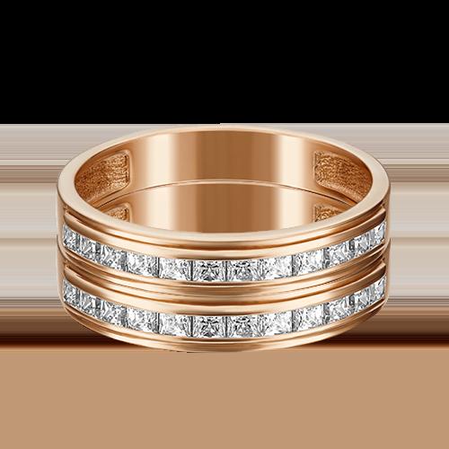 Помолвочное кольцо из красного золота фианитом огр.SW 01-3659-00-501-1110-38