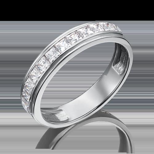 Помолвочное кольцо из белого золота фианитом огр.SW 01-3660-00-501-1120-38