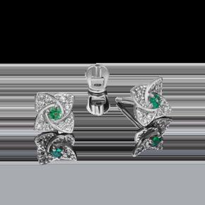 Серьги-пусеты из белого золота с изумрудом и бриллиантом 02-0845-00-106-1120-30
