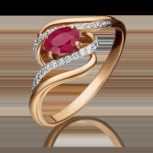 Кольцо из красного золота с рубином и бриллиантом 01-1455-00-107-1110-30
