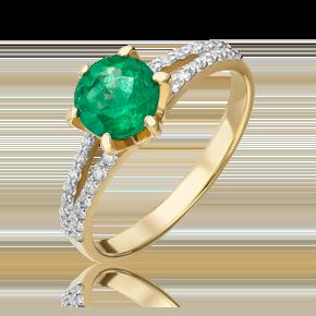 Кольцо из лимонного золота с изумрудом и бриллиантом 01-1401-00-106-1130-30