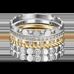Наборное кольцо из лимонного золота с фианитом 13-0007-00-401-1121-48