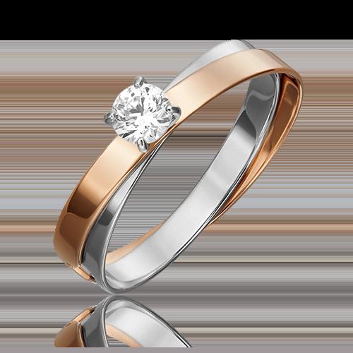 Помолвочное кольцо из комбинированного золота с фианитом огр.SW 01-5452-00-501-1111-38