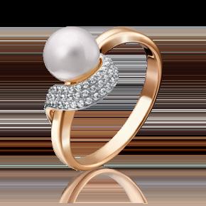 Кольцо из красного золота с жемчугом культивированным и фианитом 01-4692-00-302-1110-32
