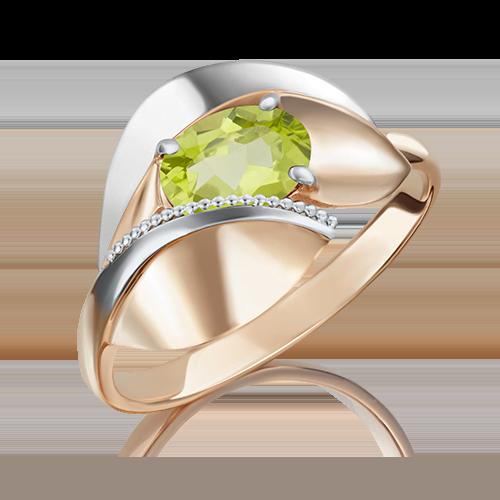 Кольцо из комбинированного золота хризолитом 01-5081-00-205-1111-46