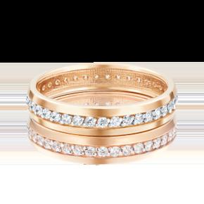 Обручальное кольцо из красного золота с фианитом 01-3268-00-401-1110-24