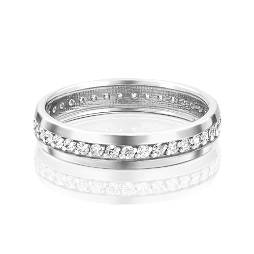 Обручальное кольцо из белого золота с фианитом 01-3269-00-401-1120-24