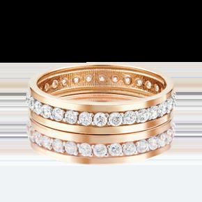 Обручальное кольцо из красного золота с фианитом 01-3270-00-401-1110-24