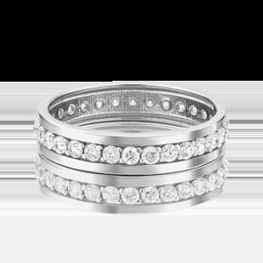 Обручальное кольцо из белого золота с фианитом 01-3271-00-401-1120-24